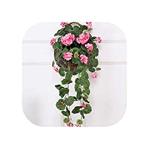 Hanging Flowers Wall Decor Vine Decoration Artificial Flowers Begonia Rattan Wedding Decoration Silks Flower Rose String Garland 54