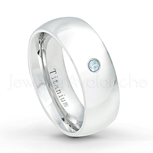 8mm Comfort Fit Polished Classic Dome White Titanium Ring with 0.07ct Topaz Solitaire Wedding Band - November Birthstone Ring-12 (White Dome Ring Topaz)
