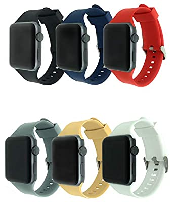 CMG 8 Pack Bands for Apple Watch, Soft Silicone Sport Strap Replacement Bracelet Wristband for Series 3, Series 2, Series 1, Nike+, Edition