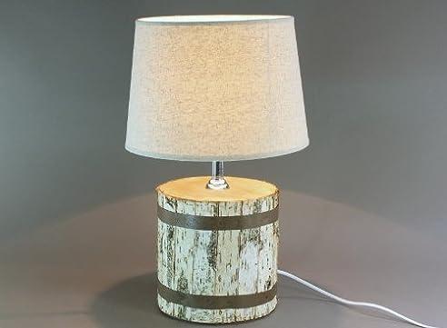 Tischlampe Mit Holzfuss Birke Tischleuchte, Lampe, Höhe: Ca. 48 Cm