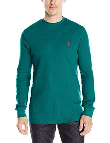 U.S. Polo Assn. Men's Long Sleeve Crew Neck Solid Thermal Shirt, Nocturne Teal, XX-Large - Neck Crew Thermal Mens