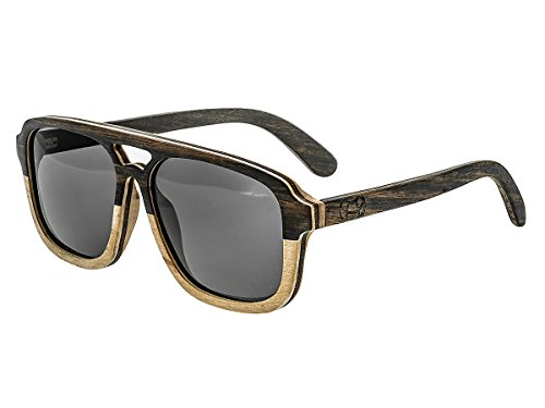 Earth Wood Playa Polarized Aviator Sunglasses, Ebony-Zebra//Black, 57 mm - Polarized Wood Sunglasses Earth