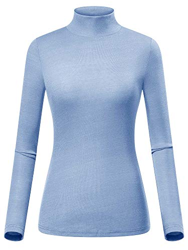 GUBERRY Womens Fitted Top Turtle Neck Basic Long Sleeve Sky Blue Knitted ()