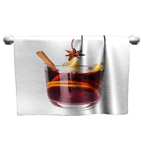 Tankcsard Baby Bath Towel Hot red Mulled Wine for Winter and Christmas with Orange,Quick Dry Beach Towel for Travel