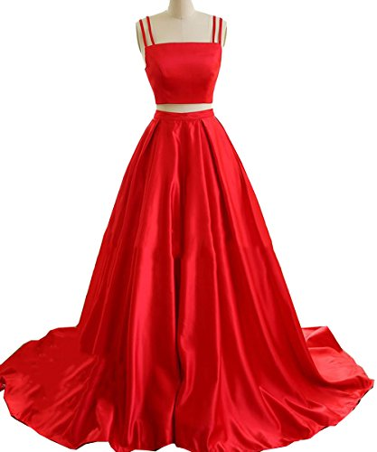 Red Carpet Celebrity Dresses - Women's Modest Two Pieces Prom Dresses Long With Pocket Satin Formal Evening Gown Red US6