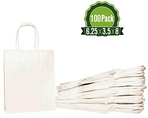 White Kraft Paper Gift Bags Bulk with Handles (100 Bags) 6.25x3.5x8 Ideal for Shopping, Packaging, Retail, Party, Craft, Gifts, Wedding, Recycled, Business, Goody and Merchandise Bag