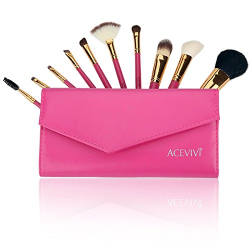 ACEVIVI 10 Pieces Makeup Brushes Set with Powder Blusher Cosmetics with Synthetic Leather Case Rose Red