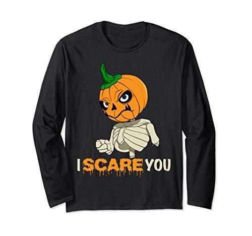 Halloween Make Skelett (Spooky Halloween Costume - Skelett Pumpkin Head I Scare You Long Sleeve)