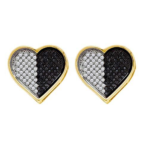 Aienid 10K White Gold 0.26Ct Diamond Heart Earrings for Women ()