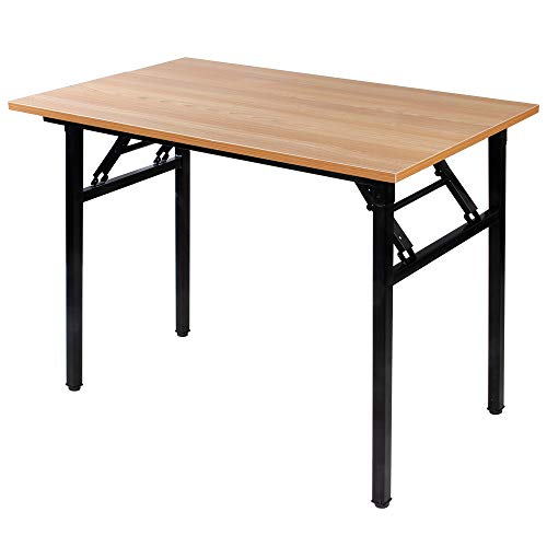 Need 39.4 Inch Computer Desk for Small Space/Small Folding Table/Small Writing Desk/Compact Desk/Foldable Desk with BIFMA Certification, No Install Needed, Teak AC5-10060-BB