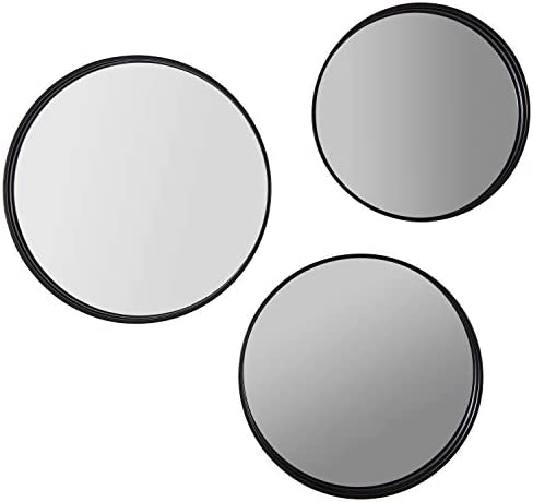 Amazon Brand Rivet Industrial Round Metal Wall Mirror Set