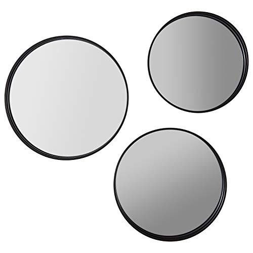 Rivet Industrial Round Metal Wall Mirror Set - Set of 3, -