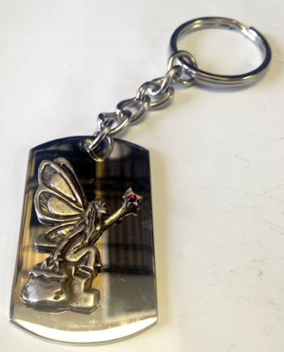 (Fairy Pixie Sitting w/Crystal Star Pewter Metal Emblem - Metal Ring Key Chain)