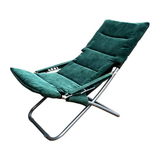 Folding Siesta Lounge (XINGPING Chaise Longue Folding Portable Office Lunch Break Chair Balcony Home Leisure Lounge Chair Siesta Folding Bed Sun Chair (Color : Dark Green))