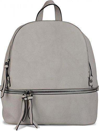 styleBREAKER Kunstleder Rucksack Handtasche mit Reißverschlüssen, edler Style, Tasche, Unisex 02012147, Farbe:Rot Hellgrau