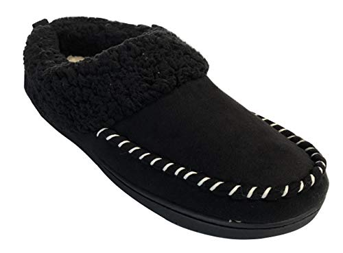 Dearfoams Women's Microsuede Memory Foam Clog Sherpa Slippers with Whipstitch (Small / 5-6 B(M) US, Black) ()