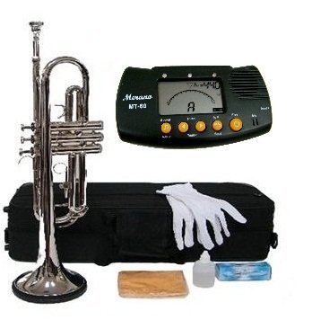 Merano B Flat Silver Trumpet with Case+Mouth Piece+Valve Oil+Metro Tuner by Merano