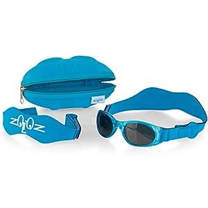 Tuga Baby/Toddler UV 400 Sunglasses w/2 Straps & Case, Turquoise