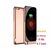 Grandey 7000mAh Rechargeable Backup Power Case Cover for Apple iPhone 6S (4.7 inch) External Battery Charger Case for iPhone 6Plus Power Bank Case 8000mAh (rose red)