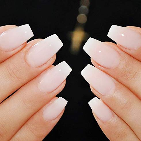 Makartt 500pcs Short Coffin Nails Natural Ballerina Nail Tips Full Cover  Gel False Nails Acrylic Nails 10