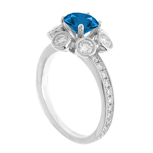 (14K White Gold 7/8ct TDW Floral Diamond Engagement Ring With 3/4ct Blue Topaz Round Center (G, SI1-VS2))