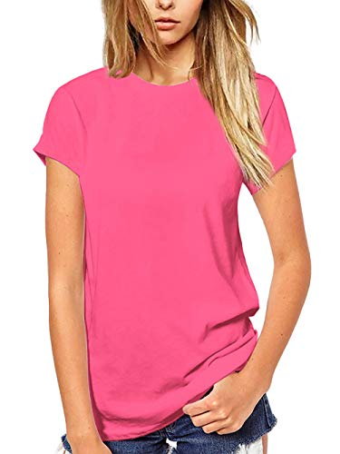 Beluring Womens Cute Crew Neck T Shirt Short Sleeve Tops for Summer (Pink, 2XL)