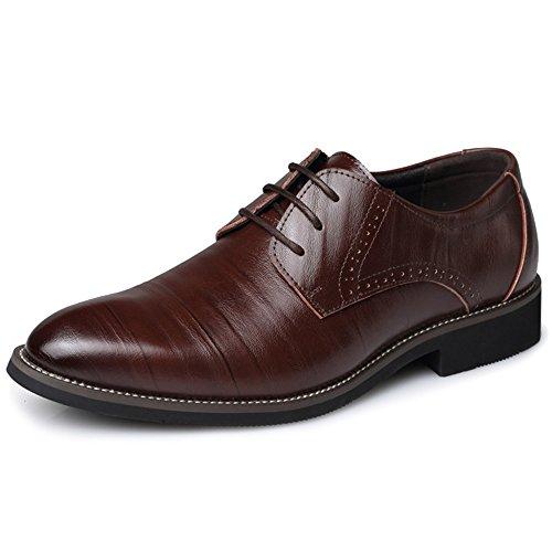 Chaussures Mode Rétro Hommes pour Affaires Lacets Robe Darkbrown Travail à Chaussures Printemps Parti De w6aqIpp