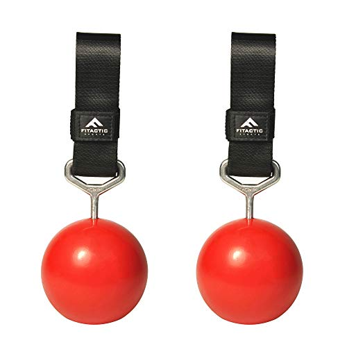 FITactic Rock Climbing Solid Training Cannonball Bomb Pull Up Power Ball Hold Grips with Straps for Finger, Forearm, Biceps, Back Muscles -