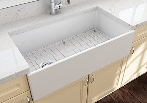 Bowl Single Fireclay (Contempo Farmhouse Apron Front Fireclay 36 in. Single Bowl Kitchen Sink with Protective Bottom Grid and Strainer in White)