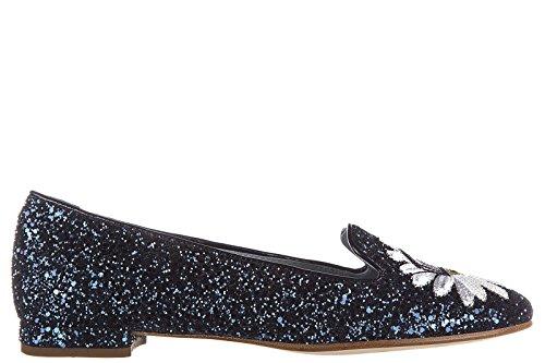 CHIARA FERRAGNI Womens Ballet Flats Ballerinas Glitter Blu Hhv6G