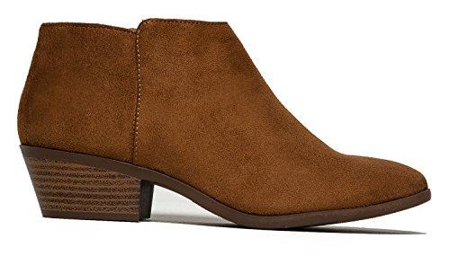 Western Ankle Boot Cowgirl Niedriger Absatz Geschlossene Zehe Casual Bootie Cognac Imsu **