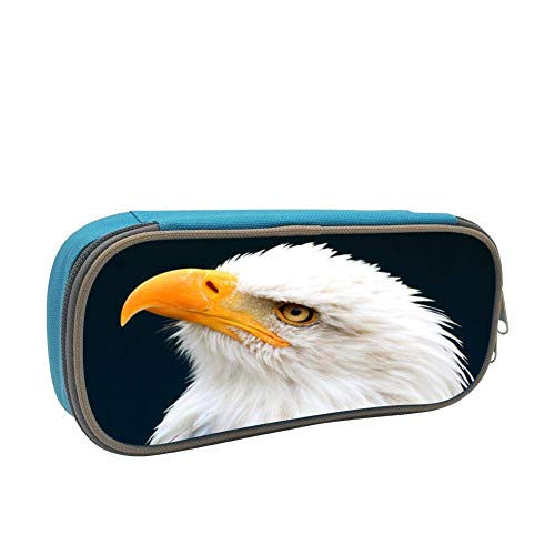 - White Headed Eagle Personalized Stationery Bag Student Pencil Box Portable Cosmetics Storage Bag Back to School Children's Gifts Blue