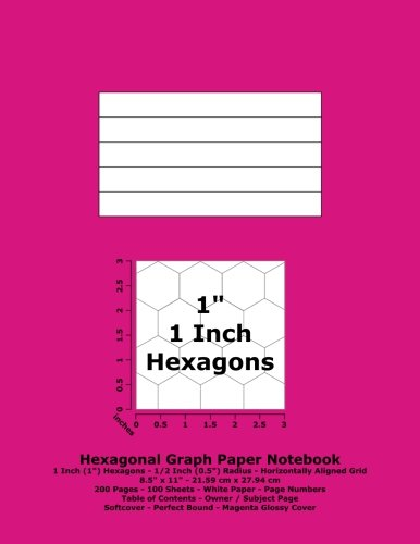 """Read Online Hexagonal Graph Paper Notebook: 1 Inch (1"""") Hexagons; Horizontal Grid; 8.5"""" x 11""""; 21.59 cm x 27.94 cm; 200 Pages; 100 Sheets; Page Numbers; Table of Contents; Magenta Glossy Cover pdf"""