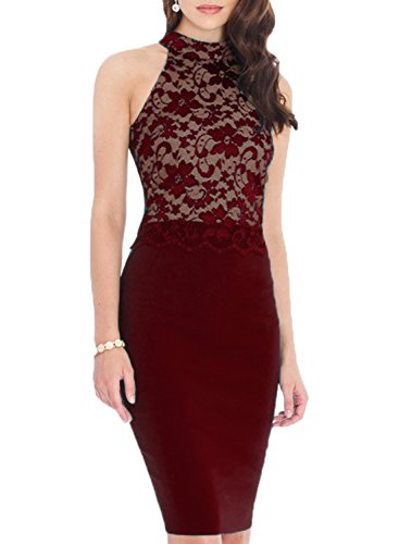 WOOSEA Women's Elegant Sleeveless Floral Lace Vintage Midi Cocktail Party Dress ( Medium , Burgundy)