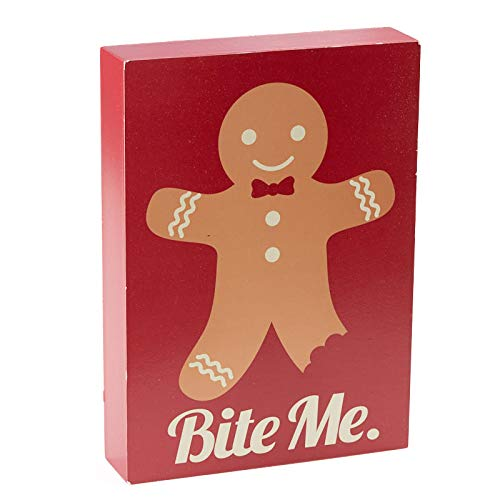Factory Direct Craft Gingerbread Man Bite Me Chunky Block Sign | 2 ()