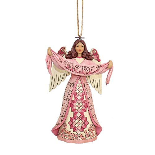 Jim Shore Heartwood Creek Enesco Pink Angel w/Hope Banner Orn]()