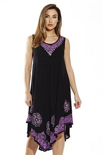 Riviera Sun 20653-BP-L Dress/Dresses for Women Black/Purple ()