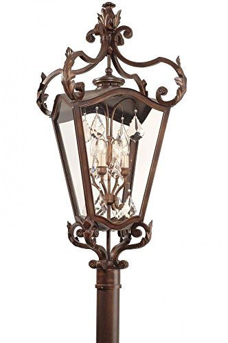 - Corbett Lighting 75-83 St Tropez Four Light Post Lantern with Clear Glass, Antique Bronze Finish