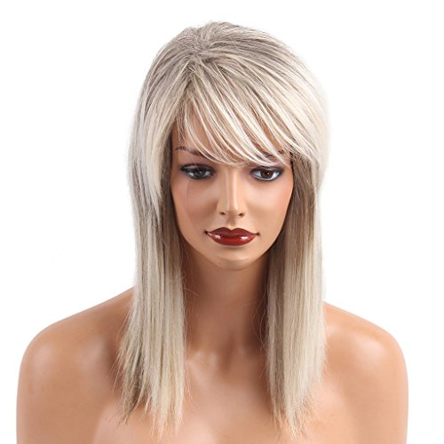 Fityle Natural Long Straight 70% Real Human Hair Mixed Memory Synthetic Fiber Wigs Silky Wigs for Women,Layered Fashion Wig with Bangs