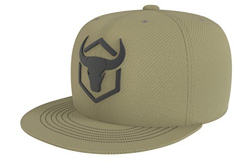 Iron Bull Strength Snapback - Adjustable Hat - Flat Bill Baseball Cap Snap Hats (Army Green)