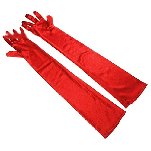 HuntGold 1 Pair Long Satin Evening Dancing Ball Party Dress Prom Wedding Finger Gloves Cocktail(red)