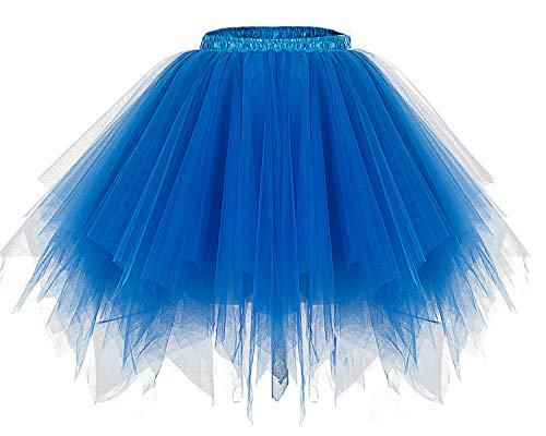 Bridesmay Women's Tutus Tulle Skirt 50s Vintage Petticoat Ballet Bubble Skirts Royal Blue M]()