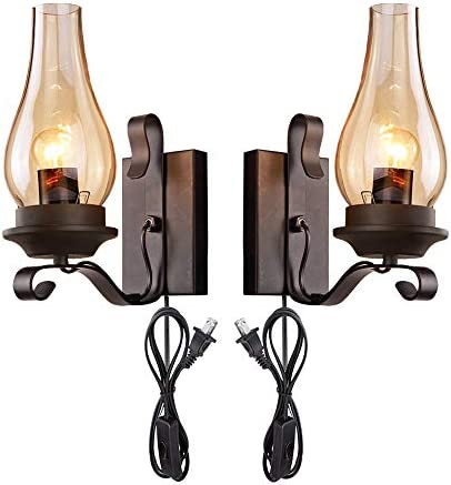 Kiven 2-Pack Vintage Loft Black Shell Nordic Restaurant Industry Wall Sconces E26 UL Certification Plug-in Button Switch Cord Lighting Bulb Not Included