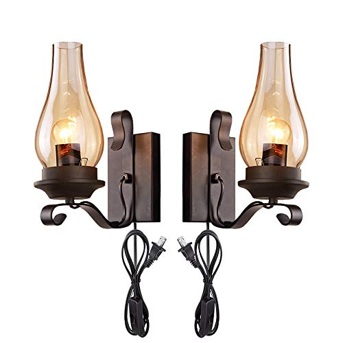 (Kiven 2-Pack Vintage Loft Black Shell Nordic Restaurant Industry Wall Sconces E26 UL Certification Plug-in Button Switch Cord Lighting Bulb Not Included)
