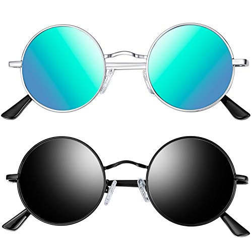 Joopin Polarized Round Sunglasses for Men and Women, Unisex Steampunk Sunglasses Hippie Sunglasses E4056 ()