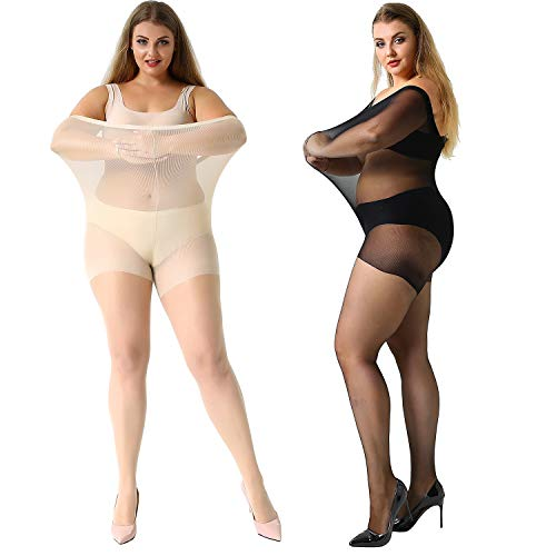 (MANZI Women's 2 Pairs Plus Size Control Top Ultra-Soft Tights Size XXXL)