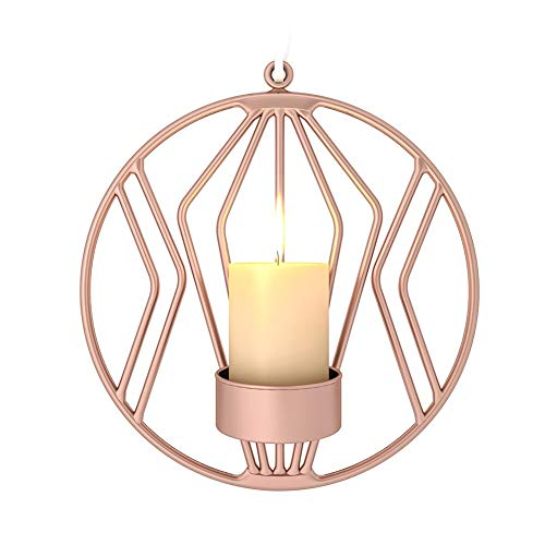 Candle Holders - Hanging Ornaments 3d Geometric Modern Round Bar Romantic Candlestick Home Decor Tea Light Candle - Distressed Pillar Under Elegant Candles Easter Round Unique Dinner -