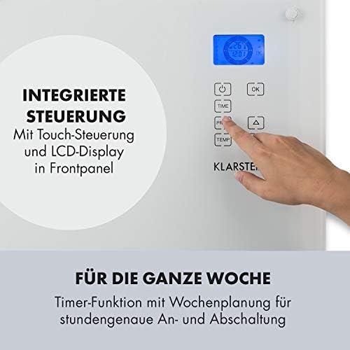Klarstein Norderney Konvektions-Heizger/ät Konvektionsheizung Glaskonvektor Elektroheizer 15-35/°C, intelligentes Thermostat, 1.000//2.000 Watt, Touch schwarz