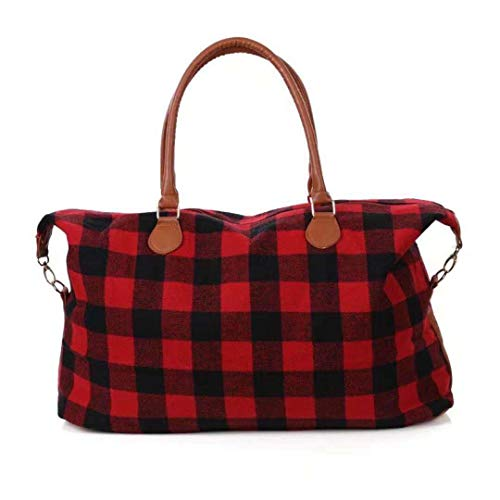 Buffalo Plaid Weekender Travel Bags Duffel Tote Bag For Women Overnight Traveling Bags (Red Buffalo Plaid)