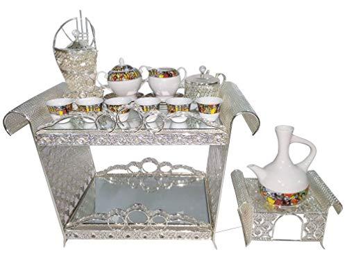 Enclosed Coffee Table Set - Ethiopian/Eritrean Coffee Table Set- Rekebot- 4 PCS Set, Coffee Table (Rekebot), Server/Sugar Bowl with Tea Spoon-የስኳር ማቅረቢያ, Incense Burner-እጣን ማጨሻ, Coffee Pot (Jebena) Base- የጀበና ማስቀመጫ